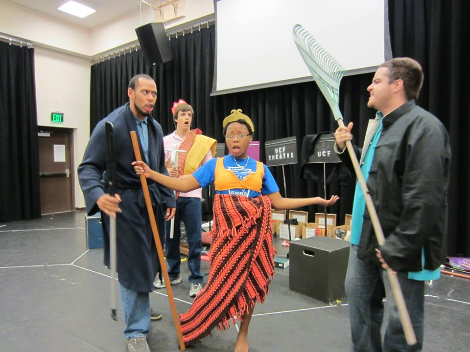 Andria (Monkey King) separates Ahmed (Sha Wu Jing) and Alex (Zhu Ba Jie) as Justin (Tang San Zang) looks on during tech rehearsal.