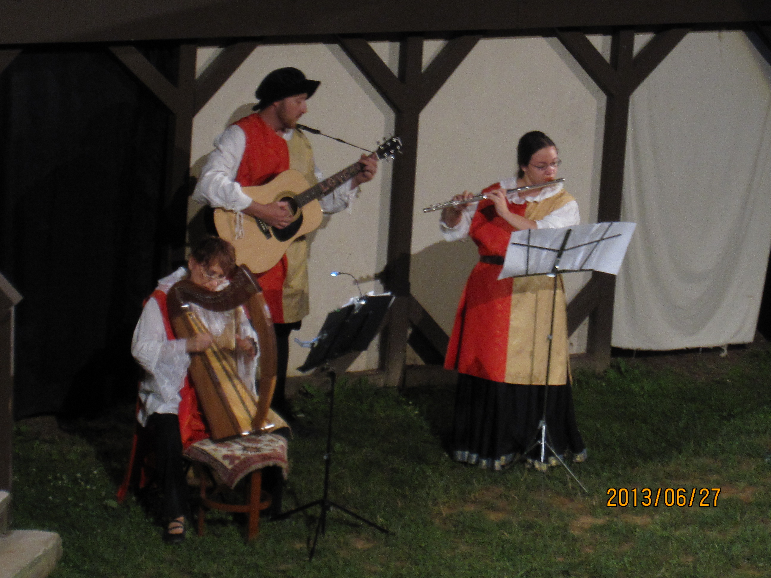 "Musicians play during Act III of ""The Merchant of Venice"" with Susan (L) Scott (C) and Mandy (R)"
